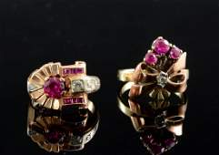 Two Ladies Vintage Diamond & Ruby Rings