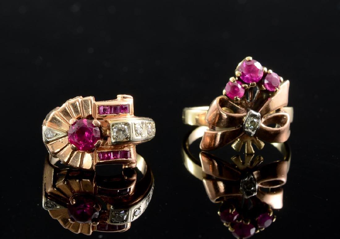 Two Ladies Vintage Diamond & Ruby Rings