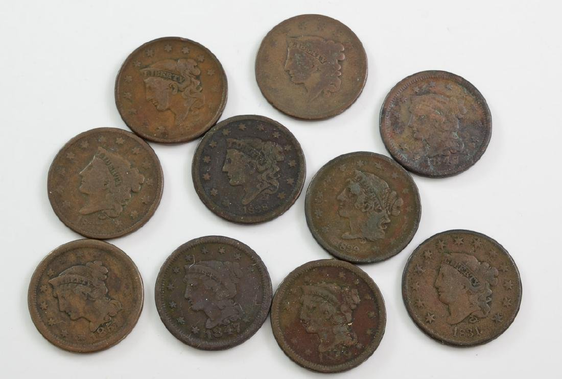 Group of 10 US Large Cents