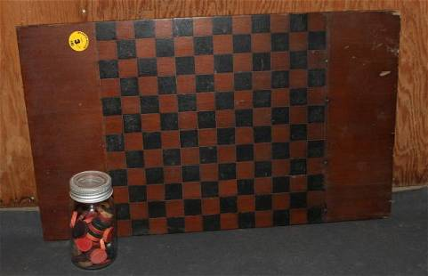 Hand painted wooden checkerboard & checkers