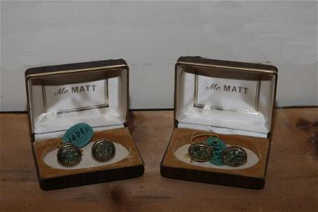2 pr of Jade cufflinks - 1960's