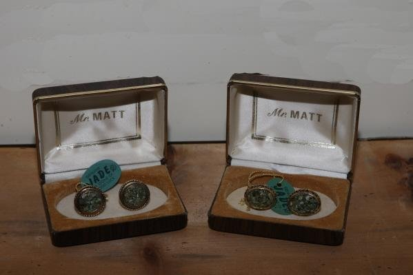 14: 2 pr of Jade cufflinks - 1960's