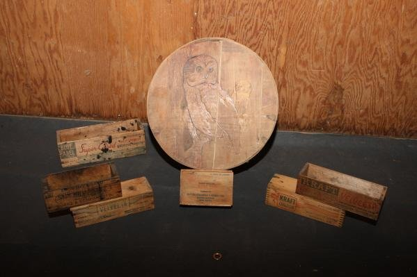 20: Wooden cheese boxes - wood burnt owl design