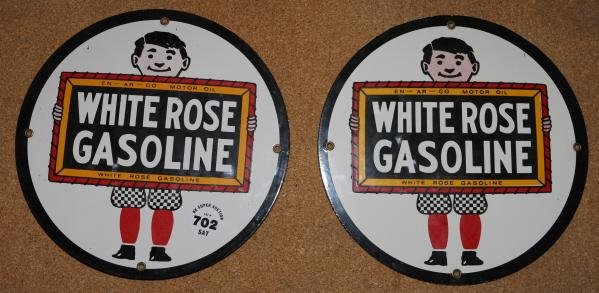 "702: 2 - White Rose 12"" porc signs - reproduction"