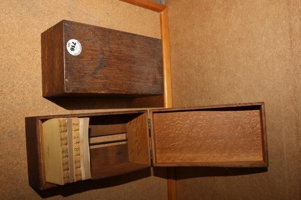 716: 2 - Oak card file boxes
