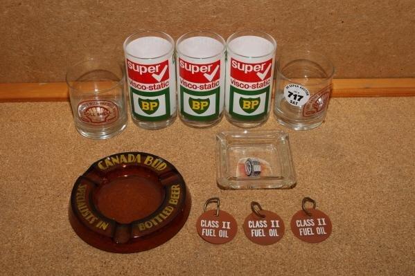 717: BP & Shell glasses & ass't adv't ashtrays