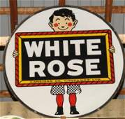 1309: White rose dble side porc Slate Boy sign