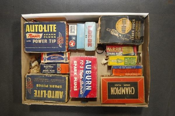 14: box lot of spark plugs, Auburn & Auto Lite