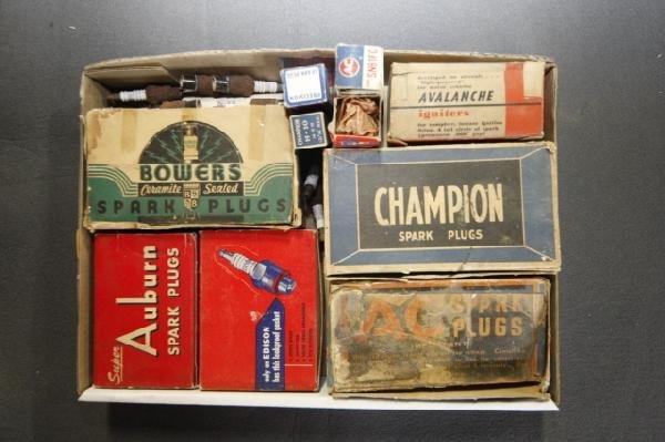 15: box of spark plubs, Auburn & Bowes
