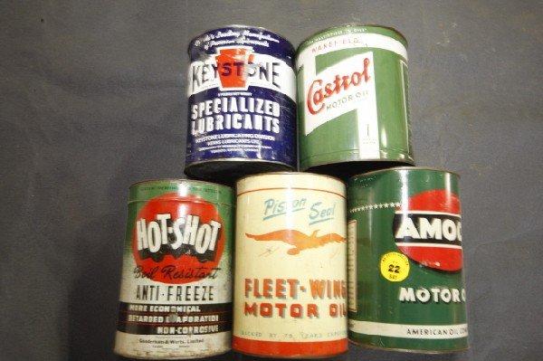 22: 5 - 1 gal cans, Amaco, Castrol, Hot Shot etc