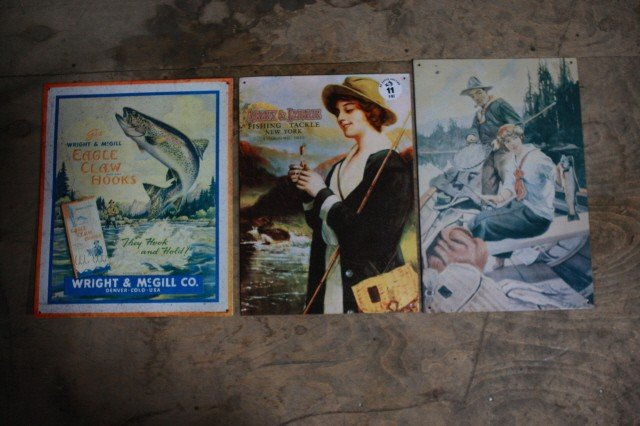 11: . Lot of 3 fishing tin signs