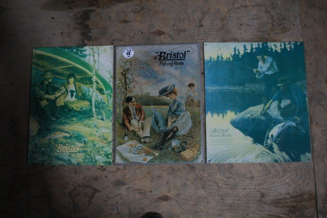 12: . Lot of 3 fishing tin signs