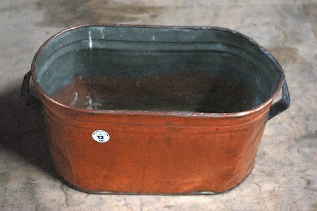 13: . Copper Oval Planter