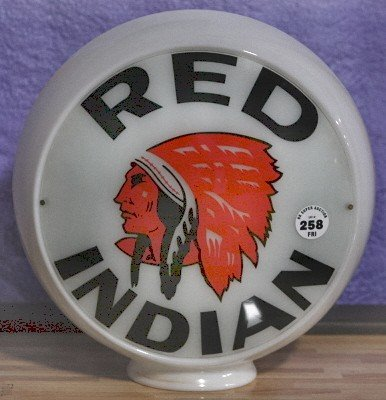 258: Red Indian milk glass gas globe