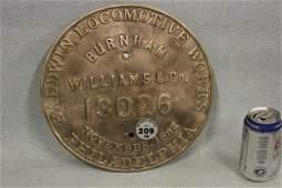 209: BALDWIN LOCOMOTIVE 13026 PLAQUE