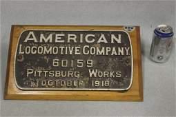 230: 1918 AMERICAN LOCOMOTIVE CO. 60159 PLAQUE