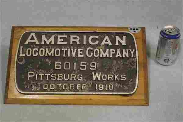 1918 AMERICAN LOCOMOTIVE CO. 60159 PLAQUE