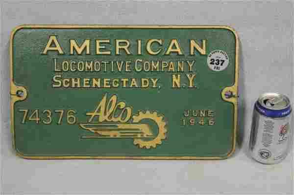 1946 AMERICAN LOCOMOTIVE PLAQUE #74376
