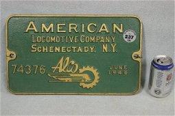 237: 1946 AMERICAN LOCOMOTIVE PLAQUE #74376