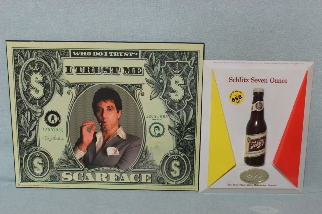 655: SCARFACE PLAQUE WITH SCHLITZ BEER SIGN