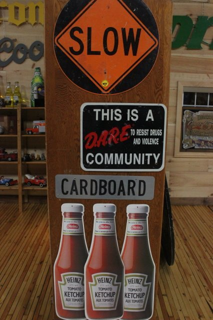 667: SLOW SIGN, DARE SIGN AND 3 HEINZ  BOTTLES