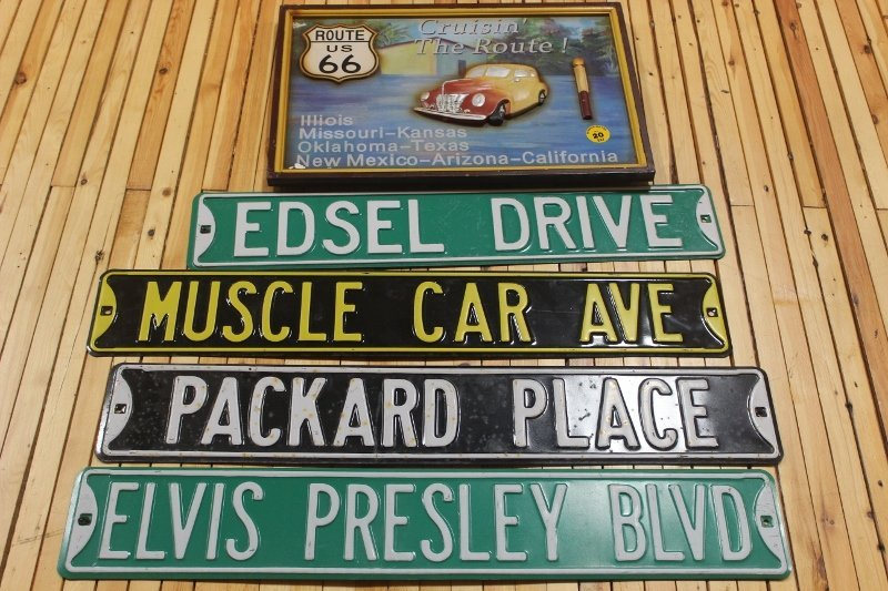 4 street signs & wood plaque
