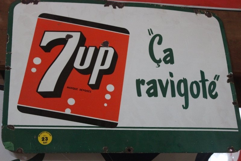 French 7 up tin sign