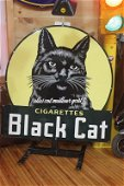 die cut porcelain black cat sign