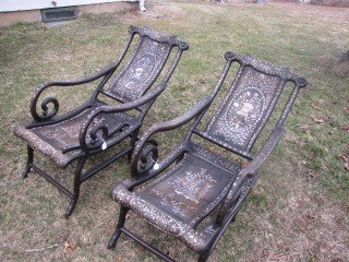 2: Pair 19th cen. Chinese inlaid chairs