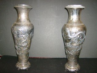 52: Kangxi Silver vases
