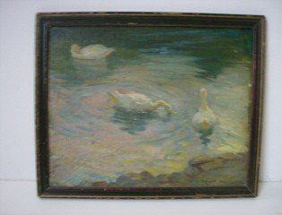 17: O/B  The Duck Pond signed F.O. Small