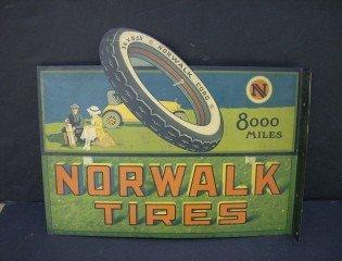 "95: 14.75"" x 22"" Norwalk Tire advertising sign"