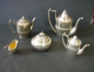 151: 5 pc. assembled Russian silver tea set