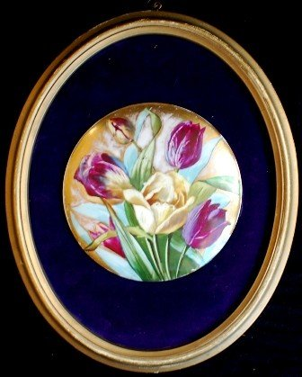 6: Miniature painting on Porcelain,  Tulips.