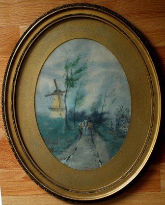 13: Rural European scene, watercolor, Signed F. Conzott