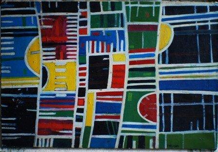 16: Abstract Oil on canvas, signed Wegman