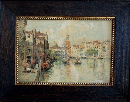 18: Venetian Scene Lithograph, Signed