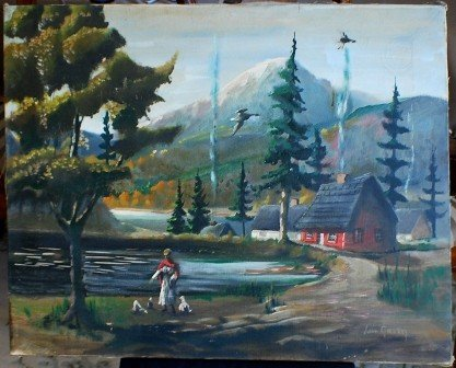 21: Mountain Village  landscape Oil, John Green