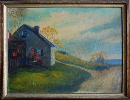 23: Oil on board painting, signed C.Lang, Dated 1941