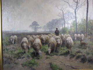 """51: Painting, o/c grazing sheep 26""""x32"""" signed"""