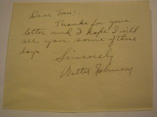 10: Walter Johnson handwritten letter w/ signature