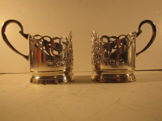 15: Pair of silver glass holders