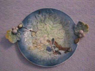 3: Majolica  deep dish w/ applied handles