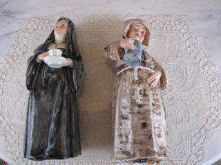 7: Pr. Majolica Friar & Nun figurines