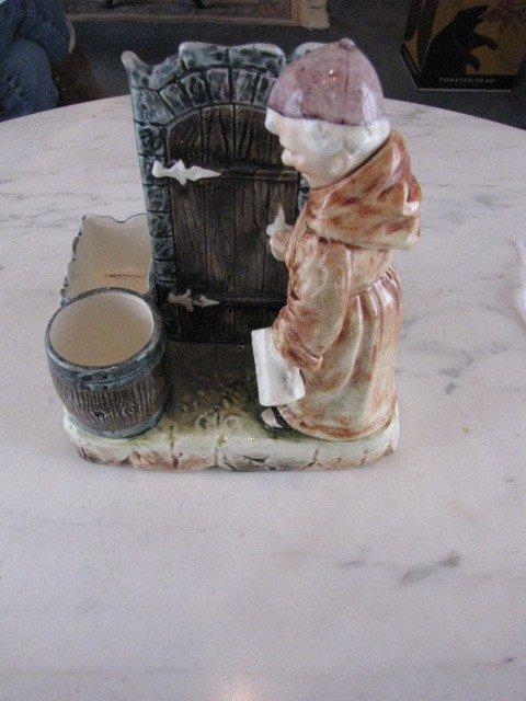 16: Majolica Smoking tray with Monk figure