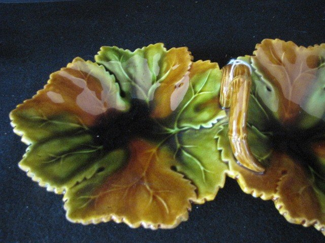 297: Majolica double candy dish - 2