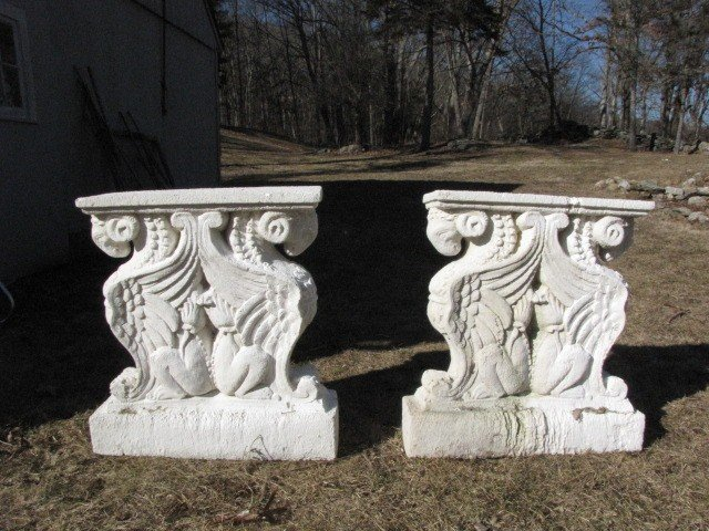 9: Pair of reconsituted marble dust lion table bases