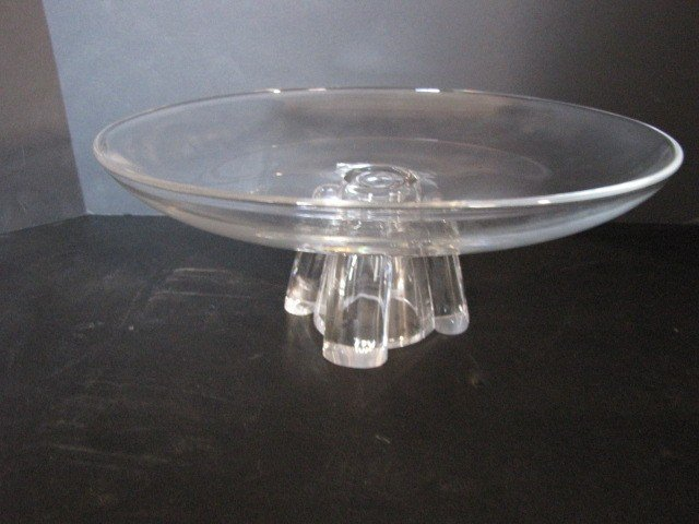 24: 2 pcs. Steuben glass, stand & dolphin