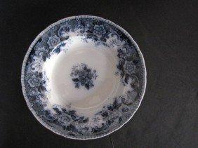 """4 9"""" Flow Blue Soup Bowls, Signed"""