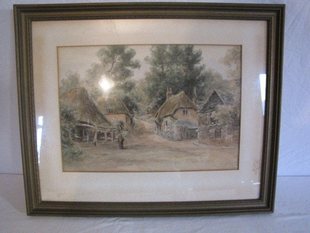 "32: Painting, W/C 10""x11 1/2"", village scene, signed"